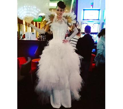 Echassier robe blanche plumes